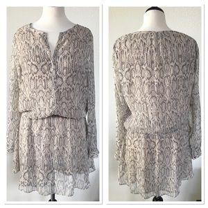 Pink & Black Snakeskin Print Sheer Dress Large
